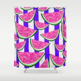 Watermelon Crush on purple stripes Shower Curtain