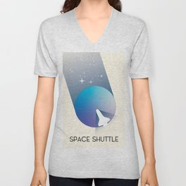Space Shuttle Retro Space Art, Unisex V-Neck