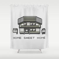 home sweet home Shower Curtains featuring Home Sweet Home  by Zeke Tucker