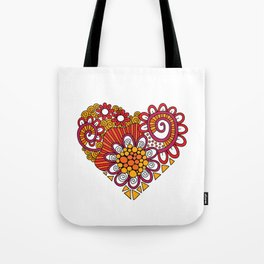 Bright Heart Doodle Tote Bag