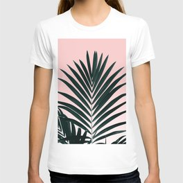 Tropical Green palm tree leaf blush pink gradient photography T-shirt