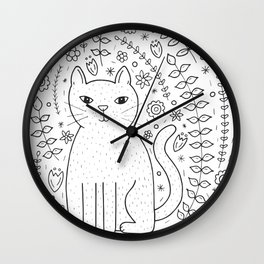 Floral Cat Wall Clock