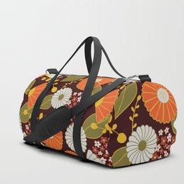Maroon, Orange, Yellow and Red Retro Flowers Duffle Bag