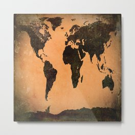 Grungy Abstract World Map Metal Print