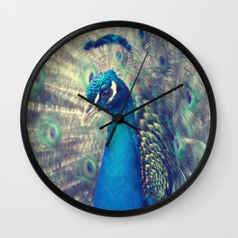Peacock in the courtship Wall Clock