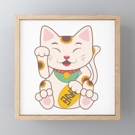 Lucky Cat Maneki Neko Framed Mini Art Print