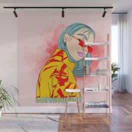 CUZ IM KOOL LIKE DAT - Asian Female with Blue Hair Digital Drawing Wall Mural