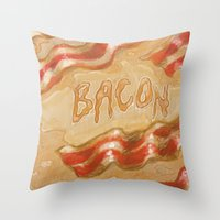 bacon Throw Pillows featuring Bacon by Kristin Frenzel
