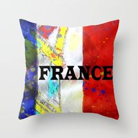 france Throw Pillows featuring FRANCE by Brian Raggatt