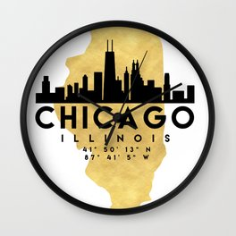 CHICAGO ILLINOIS SILHOUETTE SKYLINE MAP ART Wall Clock