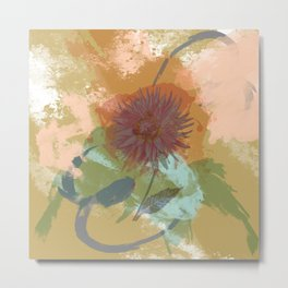 Autumnal Brushstrokes, Abstract Floral Art Metal Print