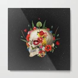 Floral Skull (Side) Metal Print