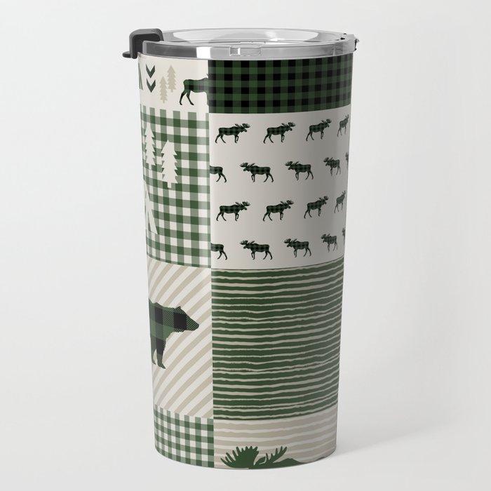 Camping hunter green plaid quilt cheater quilt baby nursery cute pattern bear moose cabin life Travel Mug