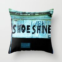 shoe Throw Pillows featuring Shoe Shine  by mcmerriweather