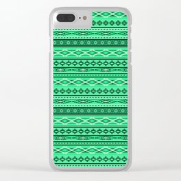 Modern Native Navajo Ethnic Tribal - Green Ruby Color Clear iPhone Case