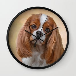 Drawing Dog breed Cavalier King Charles Spaniel Wall Clock