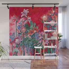 Ruby Red Floral Jungle Wall Mural