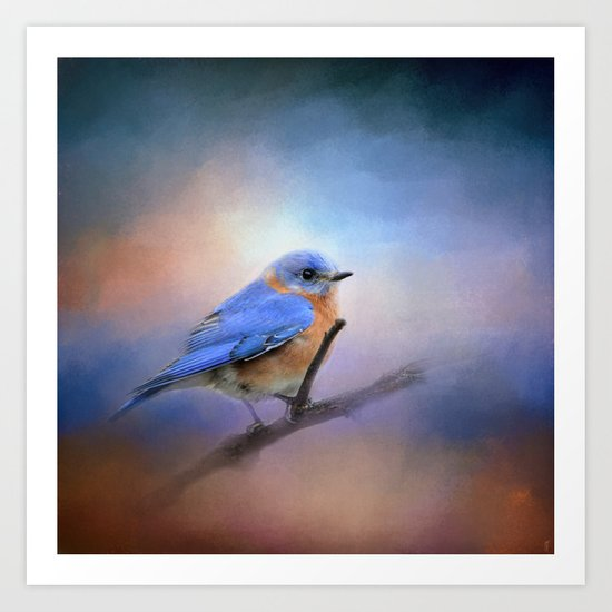 The Happiest Blue - Bluebird Art Print