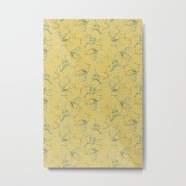 Vintage & Shabby Chic - Original Van Gogh Almond Blossoms, Seamless Pattern yellow  Metal Print