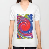 circle V-neck T-shirts featuring circle by Karl-Heinz Lüpke