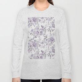 FLORAL VINTAGE ROSES MAUVE WHITE Long Sleeve T-shirt