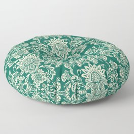 Damask vintage in green Floor Pillow