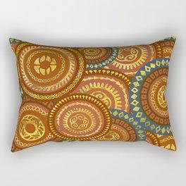 Circular Ethnic  pattern pastel gold and brown, teal Rectangular Pillow