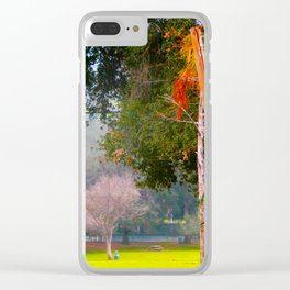 Green pastures and trees photo Clear iPhone Case