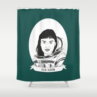 helen Shower Curtains featuring Helen Sharman Illustrated Portrait by Illustrated Women in History