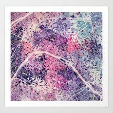 Paris Mosaic map #1 Art Print