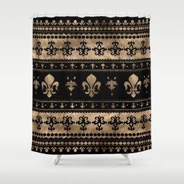 Luxury black and gold Fleur-de-lis ornament  Shower Curtain