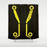tron Shower Curtains featuring Yellow Tronic by Travis Love