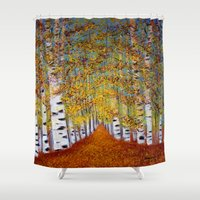 birch Shower Curtains featuring Birch trees by maggs326