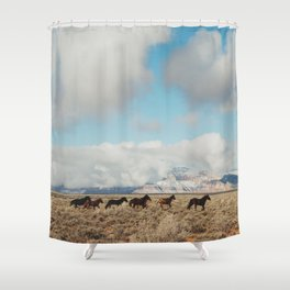 Running Reservation Horses Shower Curtain