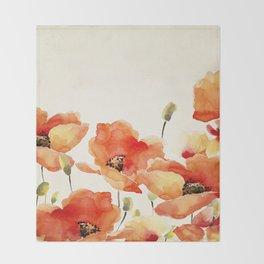 Poppy Flower Meadow- Floral Summer lllustration Throw Blanket
