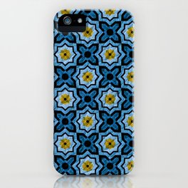 V6 Blue Traditional Moroccan Natural Leather - A4 iPhone Case