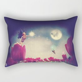 Dream fairy in fantasy land with bright red tulips at night time Rectangular Pillow