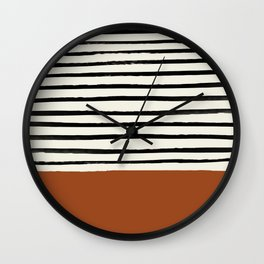 Burnt Orange X Stripes Wall Clock