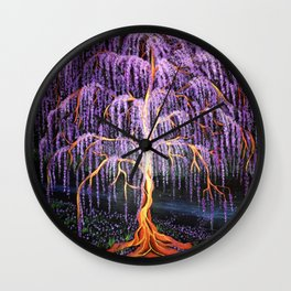 Electric Wisteria Willow Tree Wall Clock