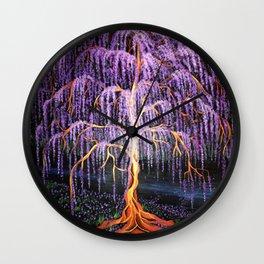 Electric Wisteria Willow Tree Wall Clock