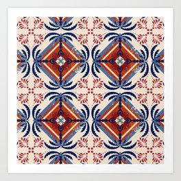 Island Palm geometric pattern Art Print