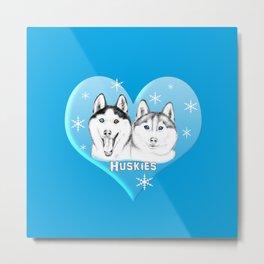 Blue Huskies Metal Print