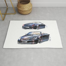 Sketch of a luxury sports car convertible. Rug