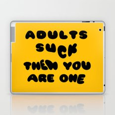 Adults Suck Fun Quote Text Design | Kawaii Fluffy Typography Laptop & iPad Skin