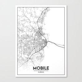 Minimal City Maps - Map Of Mobile, Alabama, United States Canvas Print