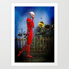 Red Robot visits the Sunflower Garden Art Print