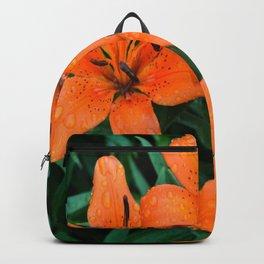 Wet Orange Tiger Lily Backpack