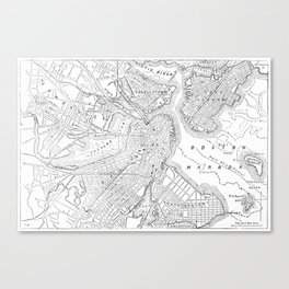 Vintage Map of Boston (1878) Canvas Print