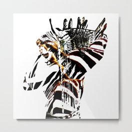 African woman with zebraprint Metal Print