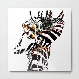African woman with zebraprint Metal Print